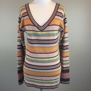 M Missoni V Neck Striped Merino Wool Bl Sweater